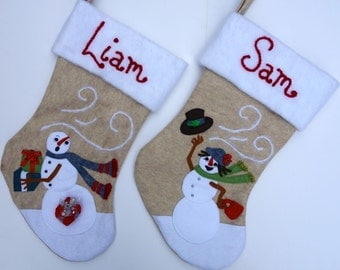"His and Hers Christmas Stocking Set--""Snowman Couple"""