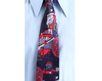 1970's tie with Renaissance Castles and Moatsin reds and blues by Dino Cellian / Korean / Poly