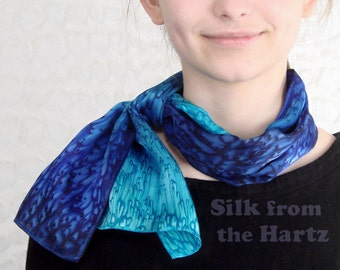 Luxurious Cobalt/Turquoise Hand Dyed Silk Scarf