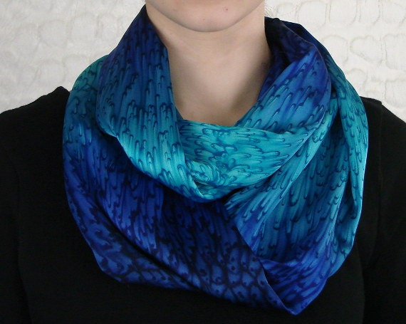 Infinity Scarf Hand Dyed Silk Cobalt Blue & Turquoise