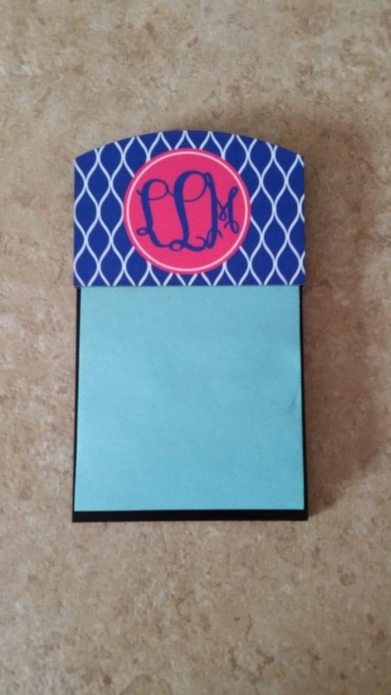 personalized sticky note holder desk decor monogrammed