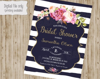 Navy Stripe Floral Bridal Shower Invitation, Floral Baby Shower Invitation, Floral Shower Invitation, Baby Shower Invitation, Bridal Shower