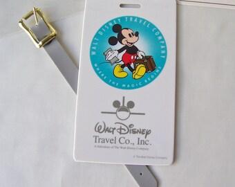 Vintage Mickey Mouse Luggage Tag NOS Walt Disney Travel Company 1980s