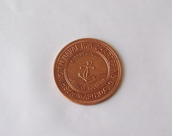 Vintage Mason's Coin One Penny Washington Naval R. A. Chapter No. 6 Vintage 1950s