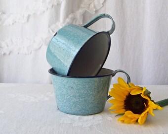Vintage Enamelware Cups Pale Blue Speckleware Navy Blue Trim Set Of Two Enameled Metal Cups Camping Cups Coffee Mugs 1950s