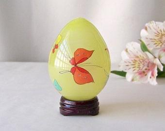 Vintage Glass Egg Églomisé Hand Painted Butterflies Glass Easter Egg Gift Oriental Art Vintage 1980s