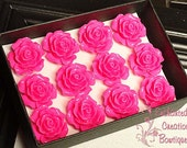 A Dozen Dark Pink Roses - Valentine's Day Special Thumbtacks Perfect For Gifts, Bridesmaids, Shower Favor, Teachers, Housewarming