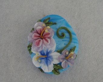 Summer Blues Floral Lampwork Bead ~ DESTASH ~