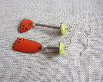 Picasso Enamel Earrings in Orange and Lime