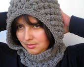 PopCorn Grey Color  Little  Hoodie Mixed Wool Yarn Hood Woman Hooded Cowl NEW