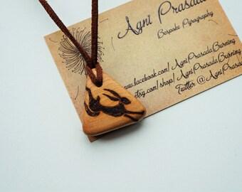 Wooden pendant, solid wood bead, wooden necklace, natural jewellery, handmade jewellery, pyrography pendant, original art pendant, Tom Cox