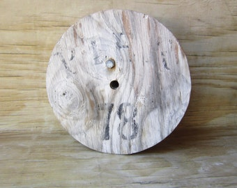 White Wood Spool - Beach House - Shabby Chic - Industrial Decor