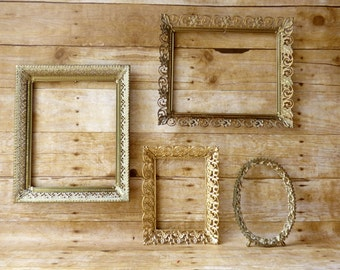 Collection of Gold Ornate Picture Frames Wedding Supplies Set of 4 Gallery Wall