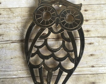 Silver Retro Owl Trivet