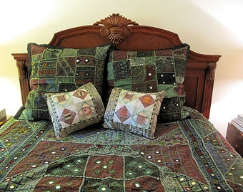 "Patchwork Bedspread, Vintage Hand Embroidery and Mirror Work with 4  Matching Pillows- Queen-88""x 108"""