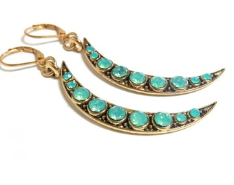 Crescent Moon Gold Lever Back Earrings