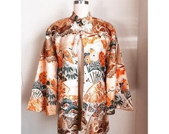 Vintage Cheongsam Silk Chinese Kimono Jacket / medium