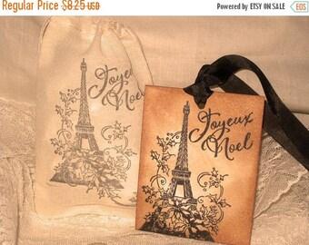 Christmas in July Vintage Christmas Hand Stamped Joyeux Noel Eiffel Tower Paris Gift Tag and Muslin Gift Bag ECS