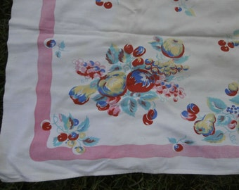 Vintage Floral and Fruit Tablecloth