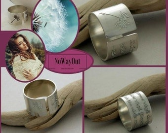 Romantic Dandelion wide band Ring, gift for HER, makes wishes come true ;) custom engraved Handmade sterling silver ring, Unique BFF gift