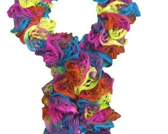 Elegant women scarf - Colorfull spiral handmade knitted
