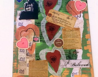 Original Mixed Media Artwork, Vintage Ephemera Collage, Love and Hearts Painting, 11 x 14 inches