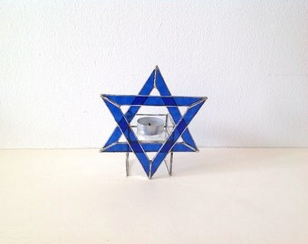 Star of David Stained Glass Candle Holder