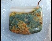 Moss Agate Pendant Bead,Gemstone Jewelry Bead,30x34x11mm,18.7g