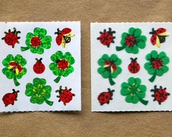 Sandylion PAIR of Ladybugs on Clovers Fuzzy & Glittery Stickers