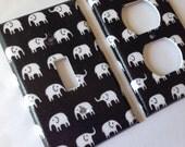 Elephant Light Switch Plate Cover/Single Toggle Light Switch Plate set / Elephant Nursery Decor / Black and White Decor/ Elephant Decor