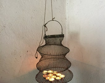 Antique Fishing Net, Vintage Bourriche, fishing keepnet, wire mesh net, Fisherman's basket, French Country Lighting