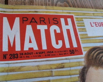 Paris Match Journal, Vintage French magazine, 1954 Vintage adverts, Hollywood images, black and white advert, french learning, France Travel
