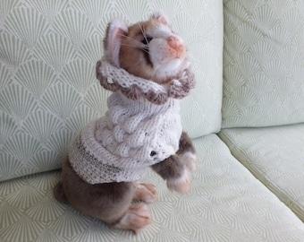 "Pet Ferret Sweater Cream X Small 10.5""  long"