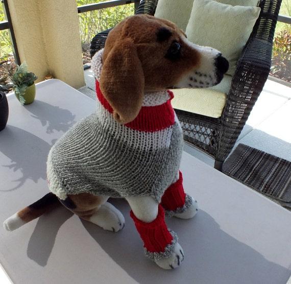 Dog Sweater and Leg Warmer Set Hand Knit Sock Monkey Medium