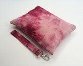 Shibori Waxed Canvas Bag w/ Detachable Handle // Tie-dyed Waxed Canvas // Vegan // Pink w/ Pink Zipper