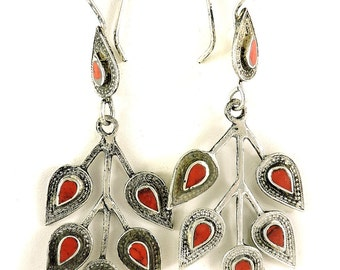 Earrings Silver Red Stone Insets Afghanistan 105848