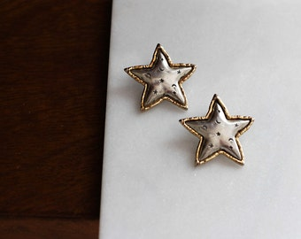 90s JJ signed pewter star earrings, Jonette Jewelry design