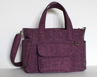 SALE - Purple Water-resistant nylon bag, Messenger, Handbag, Travel bag, Laptop, Tablet, Interior Divider, Zipper closure - Mini Nuch