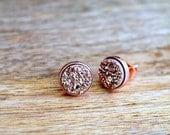 Rose Gold Druzy Earrings. Titanium Druzy Stud Earrings. 18k Rose Gold Earrings. Bridesmaid, Bridal Earrings. 8 mm Raw Gemstone