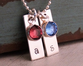Personalized Sterling Silver Hand Stamped Necklace - Mini Vertical Tag Duet with Swarovski Crystal Birthstone - Mini Tags Duet