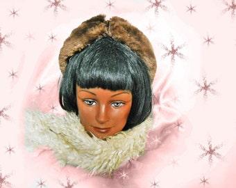 1940s Fur Hat - Vintage Sheared Beaver - Brown Velvet Winter Hat - 1940s