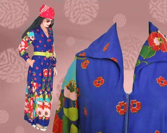 60s Psychedelic Maxi Dress - Vintage Long  Dress - 1960s Flower Power