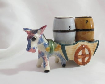 Vintage Salt and Pepper Shakers Donkey Cart