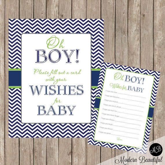 Baby Shower Message For Card: Baby Shower Wishes For Baby Card And Sign Oh Boy Lime And Navy