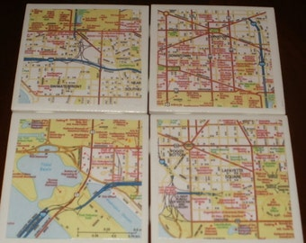 Map Coasters, Washington DC Street Map...Featuring Lafayette Square, Lincoln Memorial...For Drinks and Candles...Full Cork Bottoms