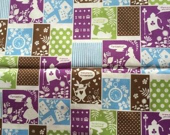 SALE Alice in wonderland fabric purple and green one yard