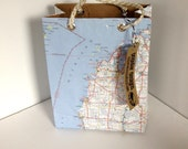Repurposed Traverse City Michigan Map gift bag / gift wrap / birthday bag / wedding gift bag / vintage recycled