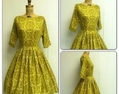 SALE 1950s Yellow Dress 50's