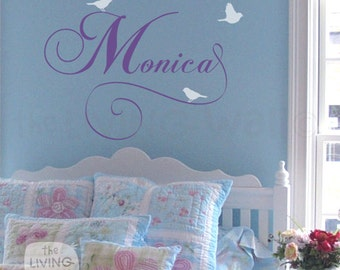 Personalized Baby Name Vinyl Wall Sticker, Name Decals for Nursery, Girls name sign with 3 birds, Childrens Bedroom Wall Decal Nursery Decor
