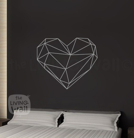 Geometric Heart Wall Decals Home Decor Removable Vinyl